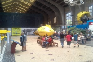 Underwater Exploration Pride: the cavernous entrance hall of the Cité de la Mer, Cherbourg