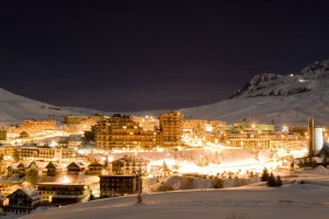 Part of the large Alpe d'Huez complex at night