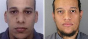 Police-issue photos of  Cherif Kouachi (l) and his brother Saïd Kouachi (r)