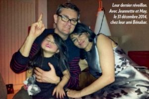 An image published in Paris Match magazine, showing former politician Jeanette Bougrab with Charb and her 10-year-old daughter on New Year's Eve last. Charb's family have denied her claims of being Charb's girlfriend.