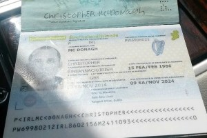 """My name is Christopher McDonagh"" Even though he invites victims to take a photo of his passport, finding the elusive Mr McDonagh has proven difficult until now"