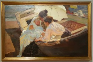 One of Sorolla's paintings with his landmark effect of capturing a moment and using various colours to create the effect of brilliant white