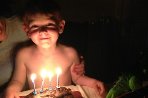 Birthday time: Caroline & Ludovic's son Liam celebrating his birthday in the more simple French manner.