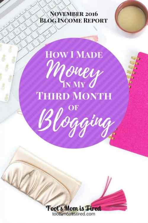 How I made money in my third month of blogging   November 2016 blog income report and traffic report