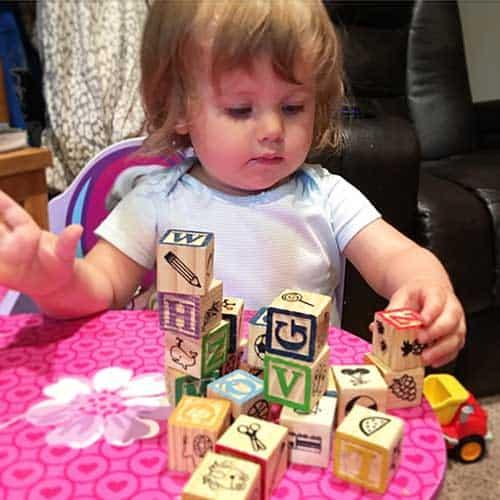 Toddler sorting blocks