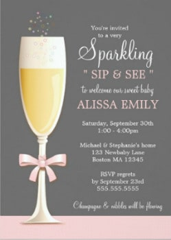sip and see baby party invitation for a girl