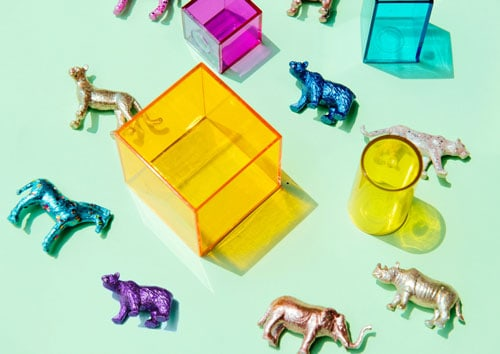 Animal toys for screen-free guessing game for toddlers