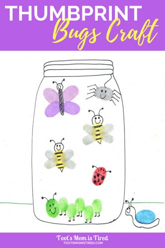 thumbprint bugs craft for toddlers toot s mom is tired