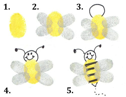 bee thumbprint bugs craft for toddlers and preschoolers