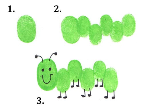Caterpillar thumbprint bugs craft for toddlers and preschoolers