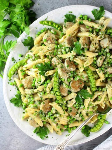 Chicken Alfredo with Penne and Peas