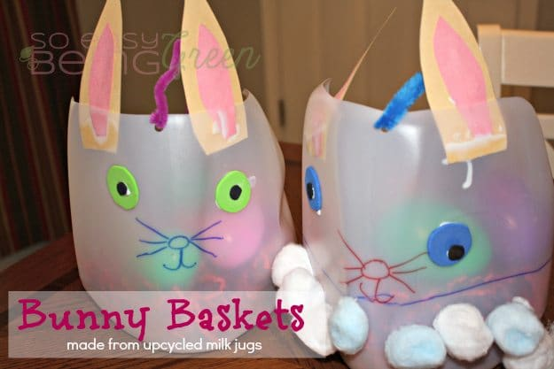 Upcycled Easter Baskets Made from Milk Jugs