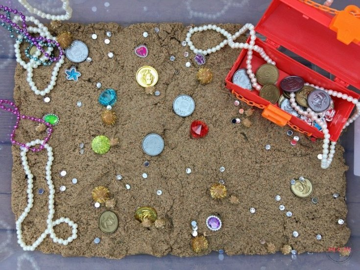Pirate Treasure Hunt Sensory Bin With Kinetic Sand!