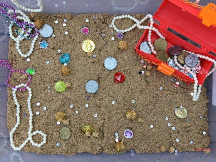 Pirate Treasure Hunt Sensory Bin With Kinetic Sand!