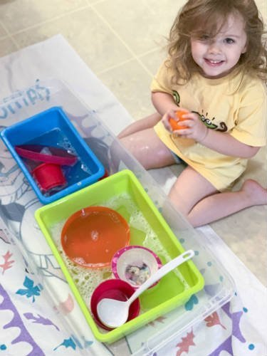 Washing Dishes Sensory Bin Idea using water