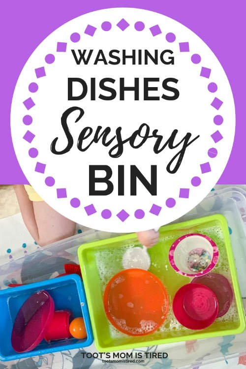 Washing Dishes Sensory Bin Idea for Toddlers and Preschoolers | Water sensory bin ideas for kids, one year old, two year old, three year old indoor activities. #sensorybins #sensorybinideas #toddleractivities #preschoolers #toddlers