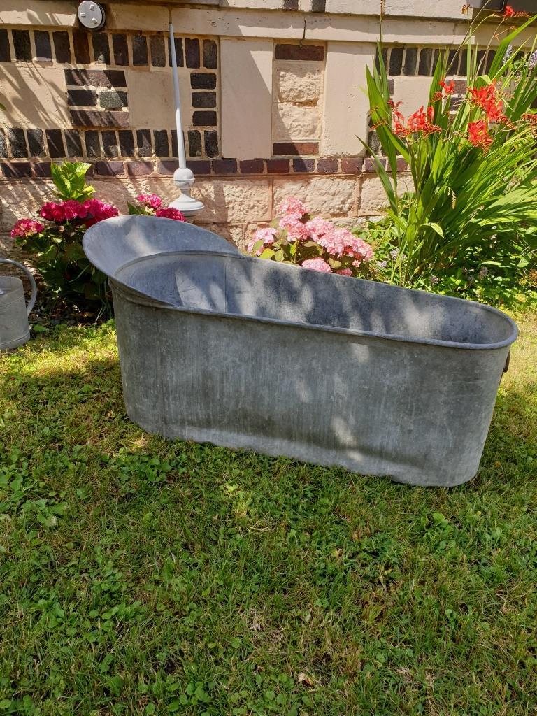 baignoire en zinc enfant brocante