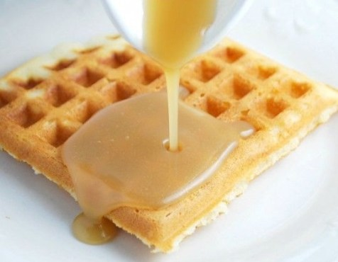 Buttermilk Caramel Syrup Waffles