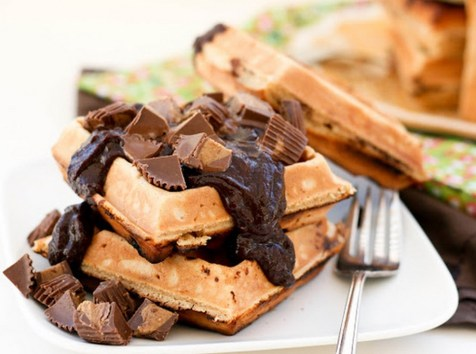 Peanut Butter Cup Chocolate Waffles