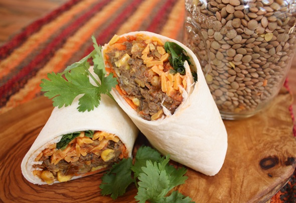 Bacon Lentil Burritos