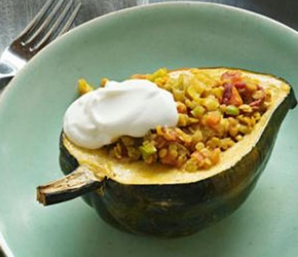 Curried Lentil Stuffed Squash