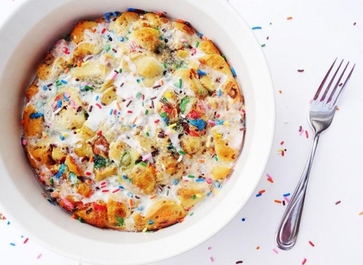 Funfetti Cake Batter Cinnamon Roll Casserole
