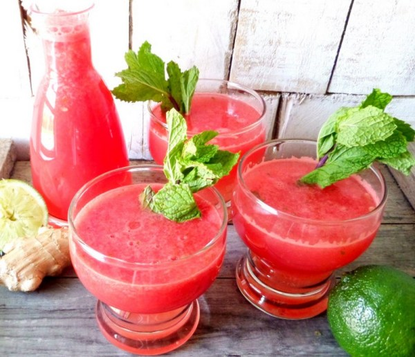 Minty Lime-ginger Watermelon Agua Fresca