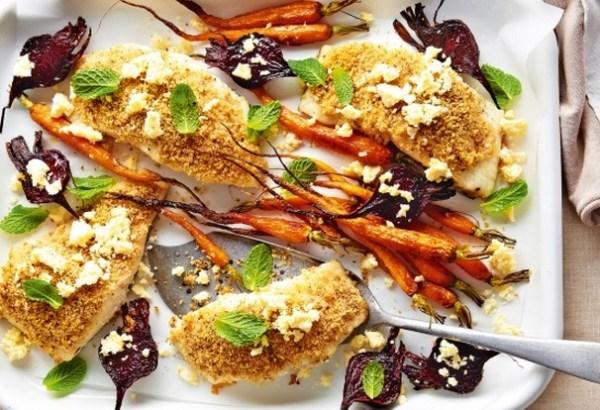 Lemon-Pepper Crusted Fish & Vegie Traybake