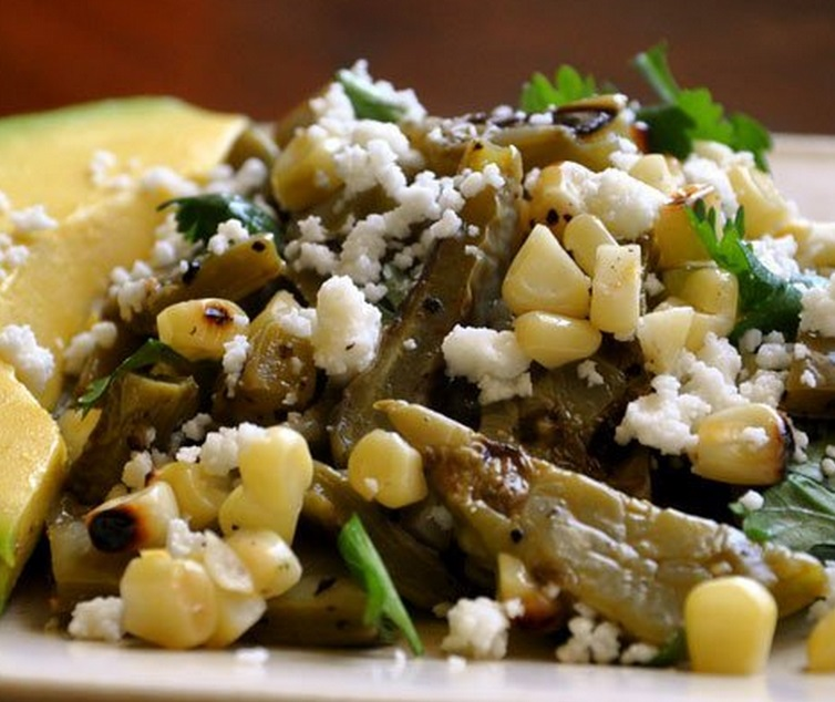 Grilled Cactus Strips With Mixed Corn Salad