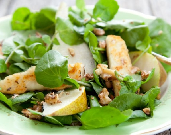 Pear, Walnut & Haloumi Salad