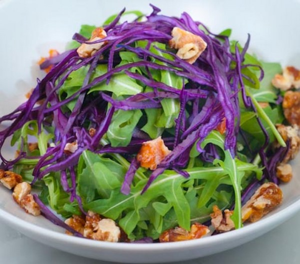 Shaved Red Cabbage And Maple Candied Walnut Salad