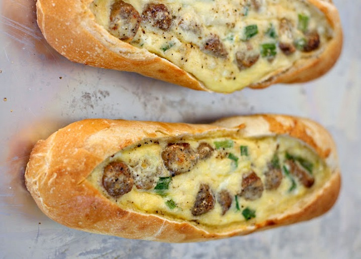 Egg, Cheese and Sausage Breakfast Boats