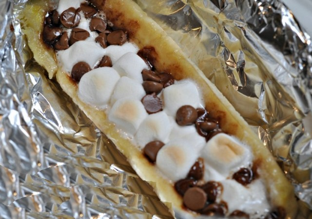 Campfire Dessert Banana, Marshmallows and Chocolate Chip Boats