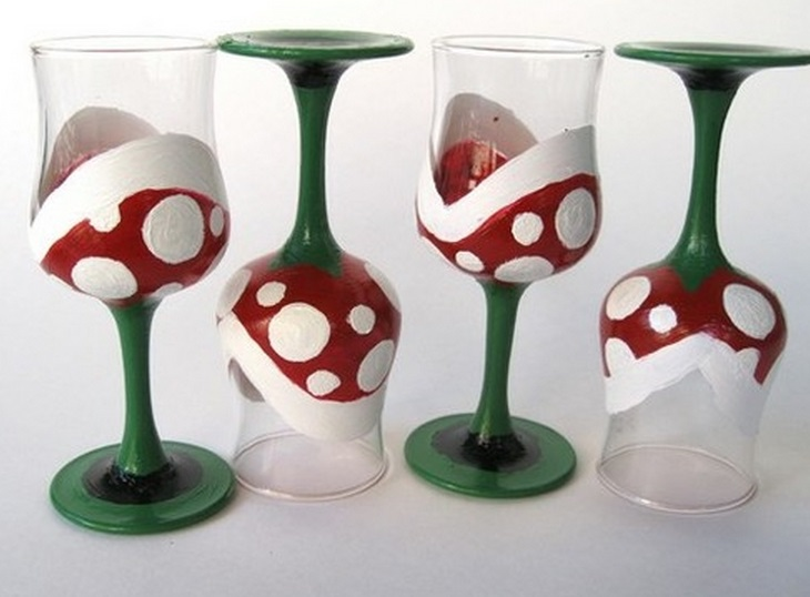 Mario Piranha Plant Wine Glasses