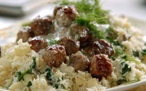 Vodka Meatballs and Rice