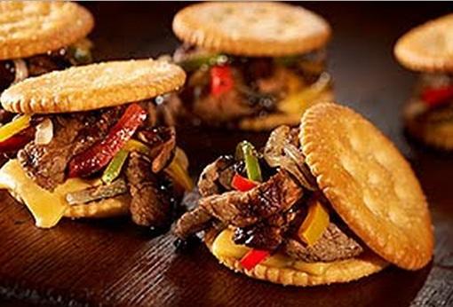 Ritz Cracker Cheese Steak Sliders