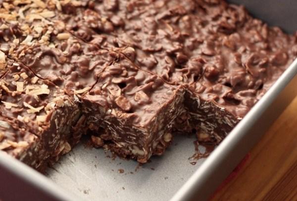 No-Bake Chocolate Peanut Butter Coconut Bites Tray