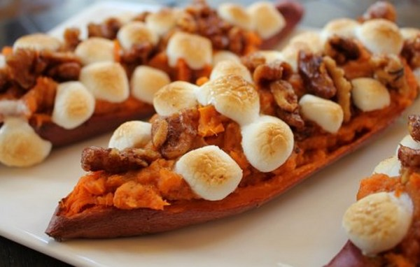 Mini Marshmallows With Twice Baked Maple & Cinnamon Yams