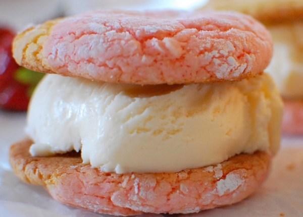 Strawberry Lemonade Ice Cream Sandwiches