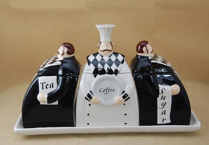 Chef and Waiters Tea, Coffee And Sugar Sets