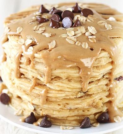 Peanut Butter & Chocolate Oat Pancakes