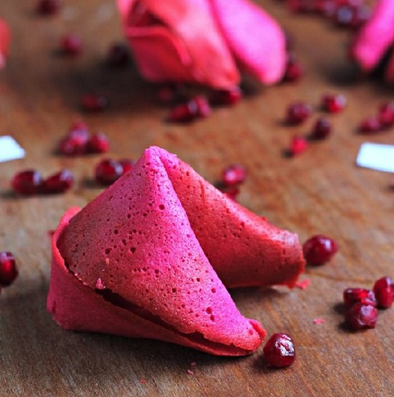 Homemade Pomegranate Fortune Cookies