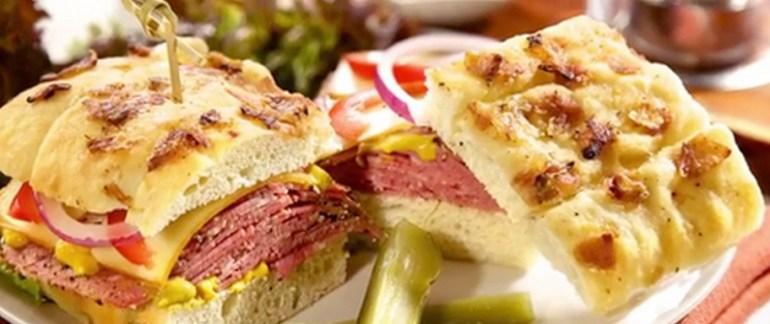 Caramelized Onion Focaccia Gourmet Pastrami Sandwich