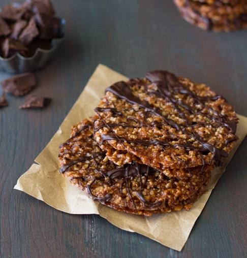 Dark Chocolate Drizzled Almond Florentines