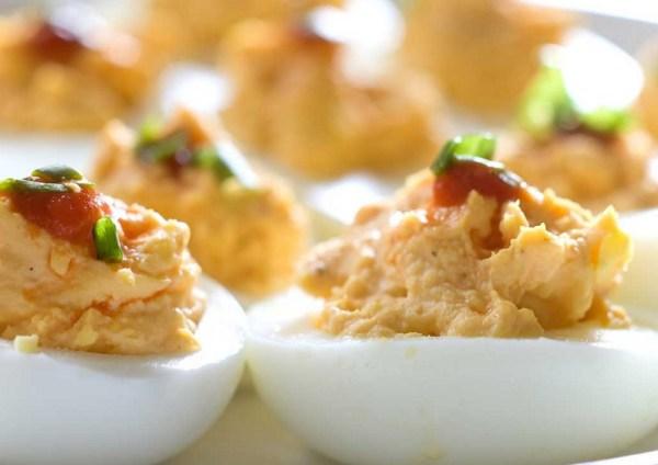 Sriracha Hard-Boiled Deviled Eggs