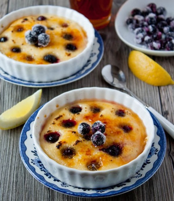 Brûléed Indian Pudding With Blueberries