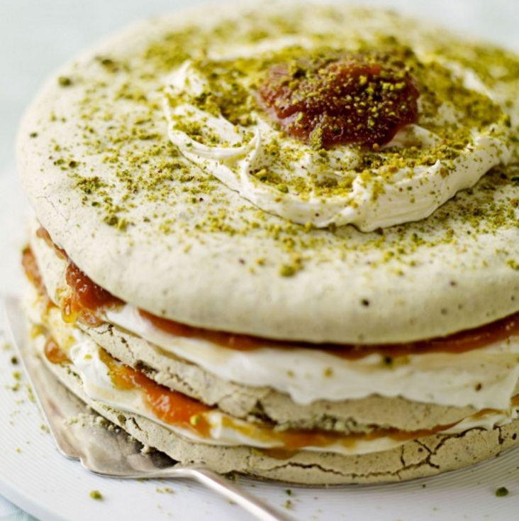 Pistachio Meringue and Apricot Layer Cake