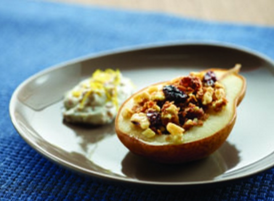 Raisin Bran Stuffed Pears
