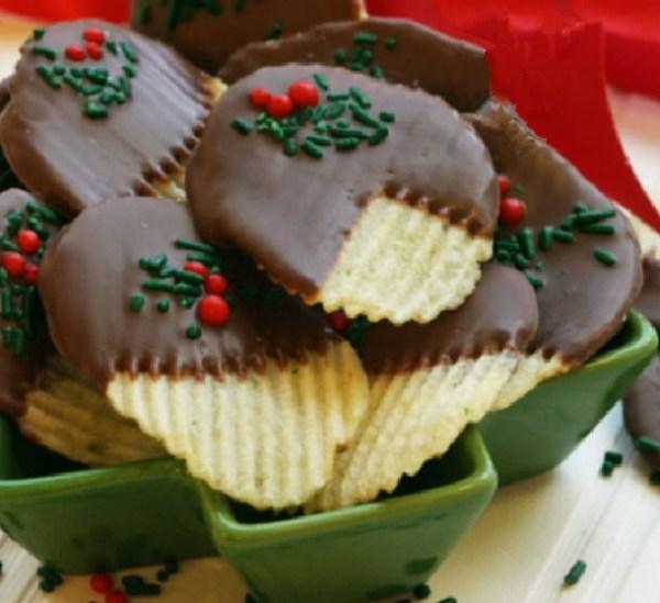 Chocolate Covered Festive Potato Chips