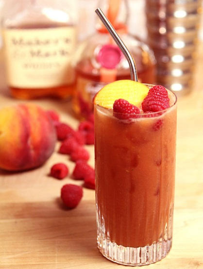 Peach Melba and Bourbon Smoothie